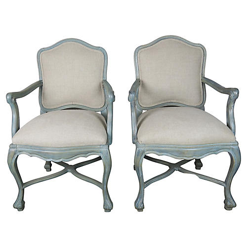 C. 1930 Louis XV-Style Armchairs, Pair