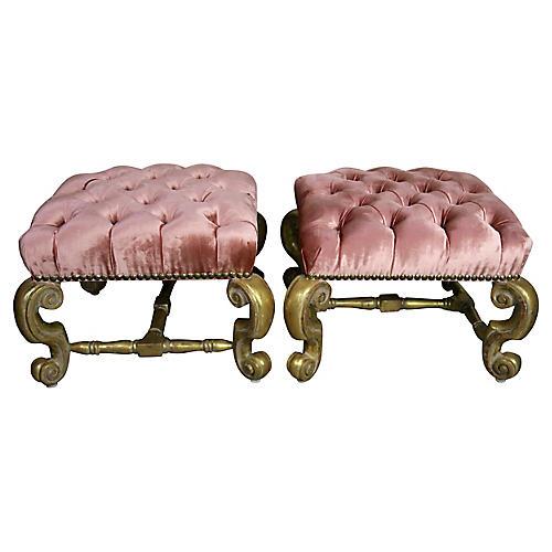 Gilt Wood Pink Velvet Tufted Benches, Pr