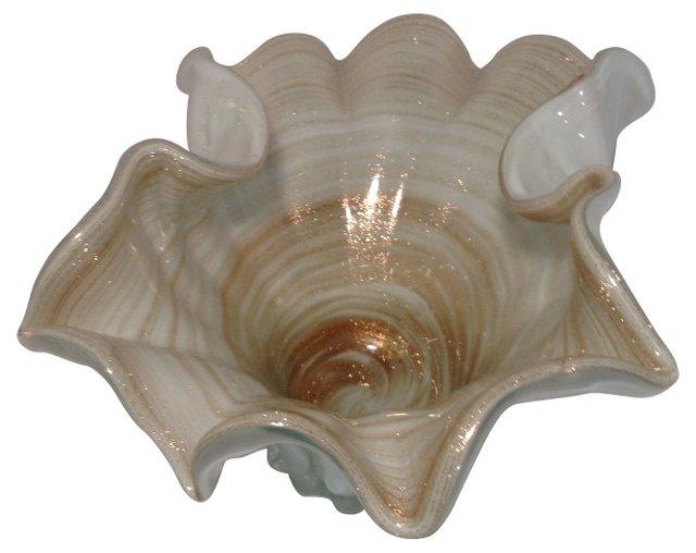 Murano White & Gold Centerpiece Bowl