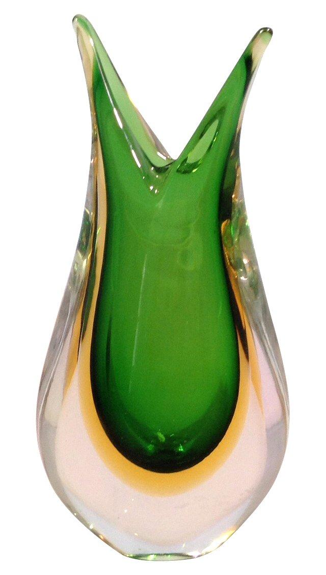 Murano Green Sommerso Vase