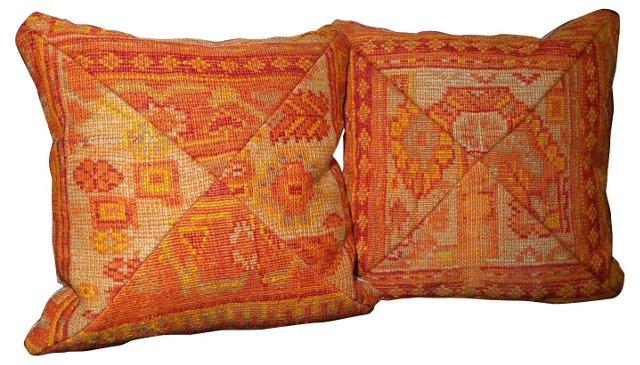 Turkish Rug     Pillows, Pair