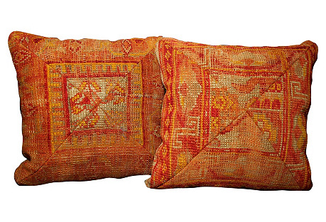 Turkish Rug Pillows, Pair