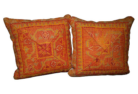 Marigold Turkish Rug Pillows, Pair