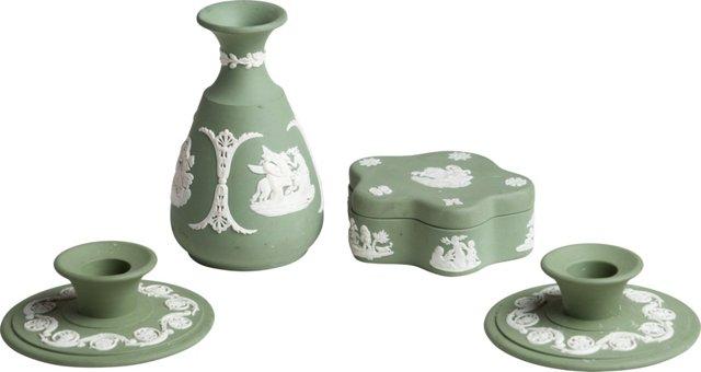 Green Jasperware by Wedgwood, 4 Pcs