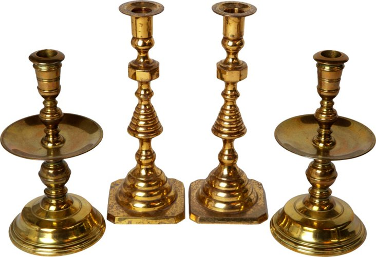 Brass Candlesticks, S/4