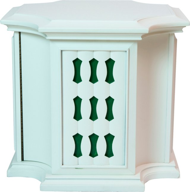 White Side Cabinet w/ Green Insets