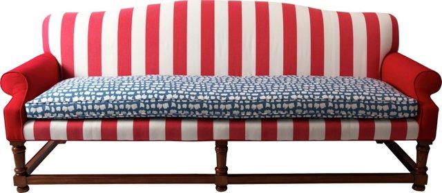 Red, White, & Blue Stripe Sofa