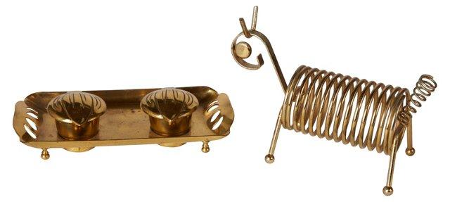 Brass Desk Set, 2 Pcs