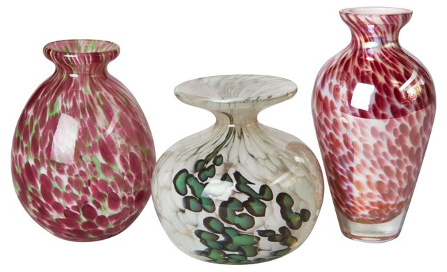 Czech Glass Vases, Set of 3