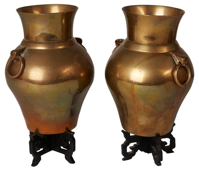 Asian Brass Urns, Pair