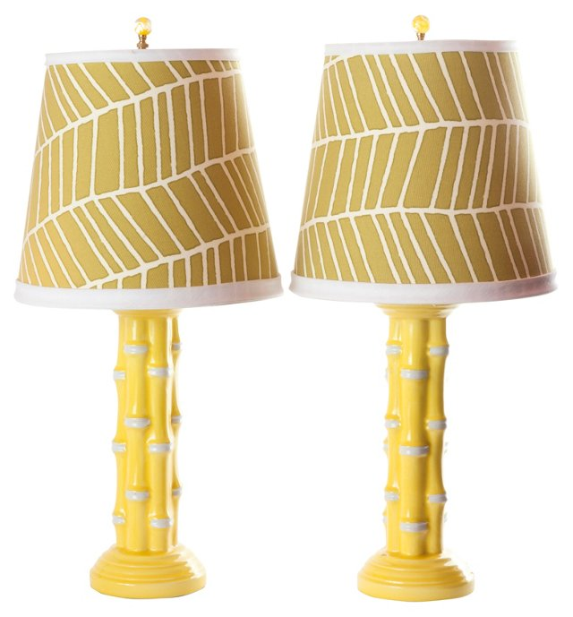 Yellow  Faux-Bamboo Lamps, Pair