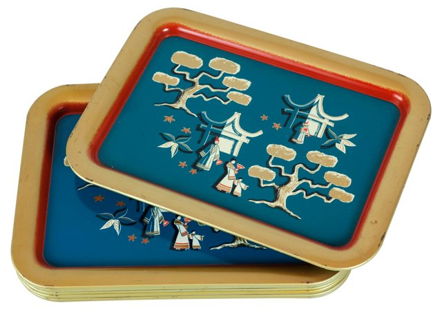 Blue & Red Asian Trays, S/9