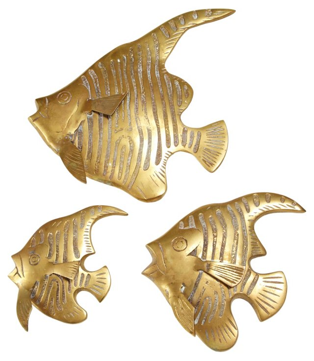 Brass Fish Wall Hangings, S/3