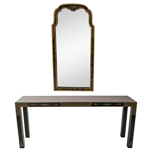 Black Chinoiserie Console & Mirror Set