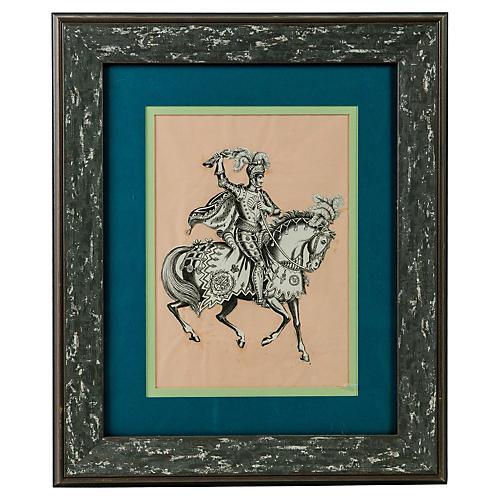 Framed Victorian Knight Paper Cutout