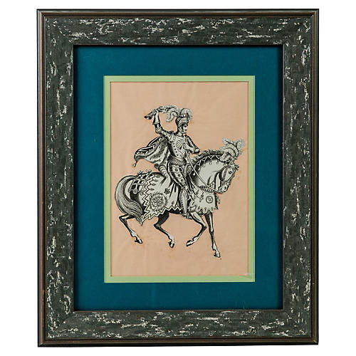 Framed Victorian Knight Paper Cutout