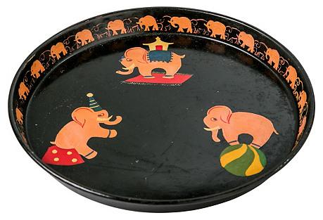 Tole Elephant Tray