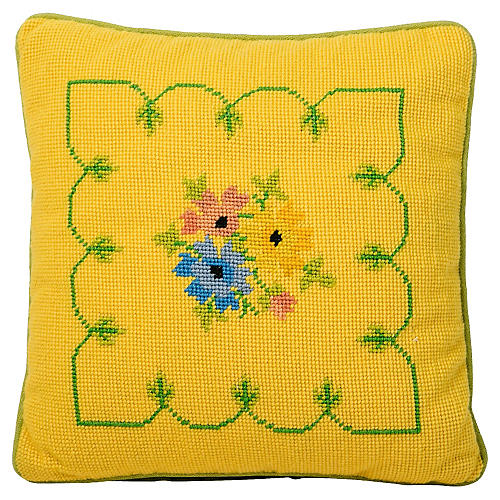 Yellow Floral Needlepoint Pillow
