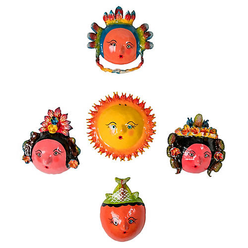 Whimsical Mexican Masks, S/5
