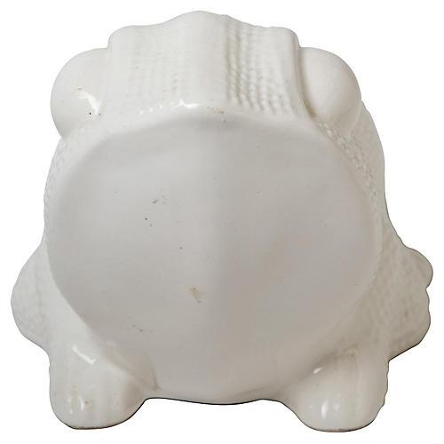 White Ceramic Frog Planter