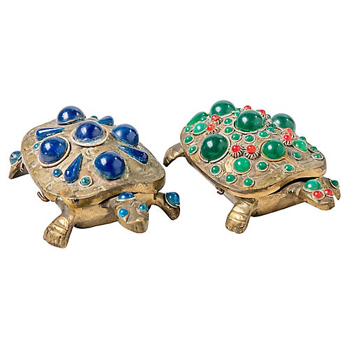 Brass Jeweled Turtle Boxes, S/2