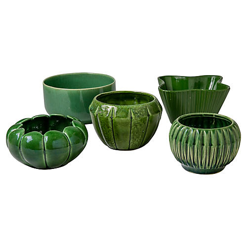 Green Ceramic Bowls, S/5