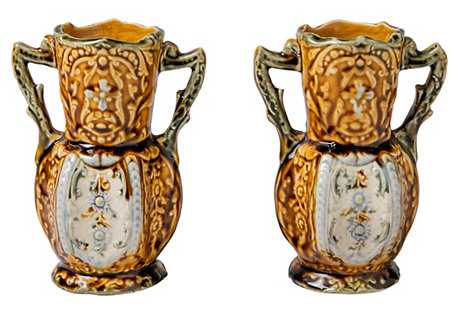 English Majolica-Style Vases, Pair