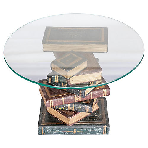 Stacked Book Side Table w/ Glass Top
