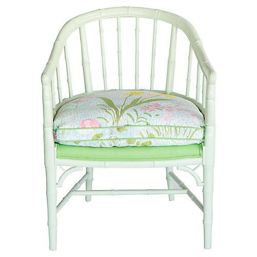 Bamboo-Style Green Armchair