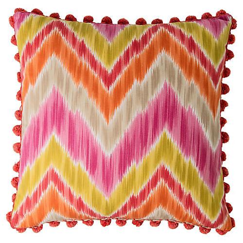 Custom Ikat Pillow w/ Ball Fringe