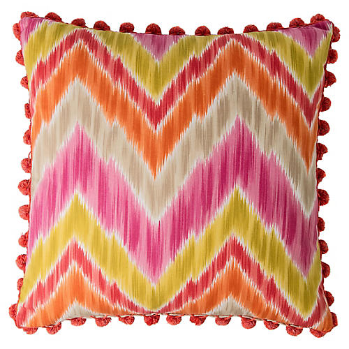 Custom Ikat Pillow w/ Ball Fringe