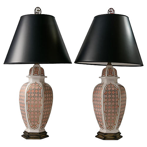 Moroccan Print Table Lamps, Pair