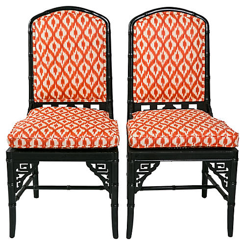 Black Faux-Bamboo Chairs, Pair