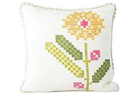 Faux-Embroidery Floral Accent Pillow