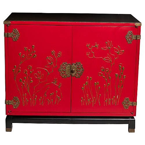Red Chinoiserie Bar Cabinet