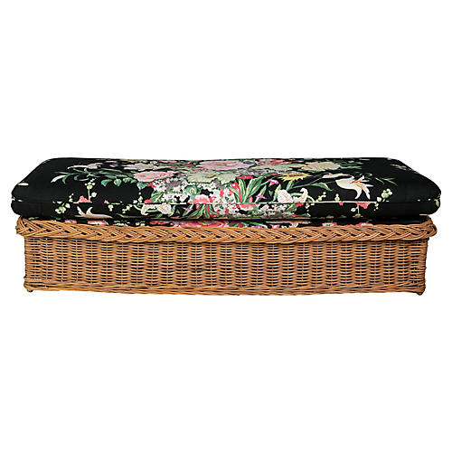 Italian Rattan Bench w/ Floral Cushion