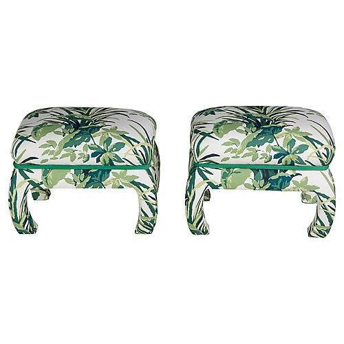 Fully Upholstered Palm Stools, Pair