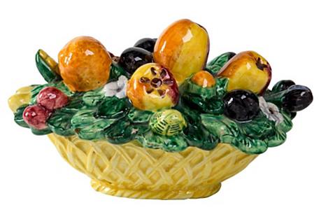 Italian Pottery Fruit Basket Box