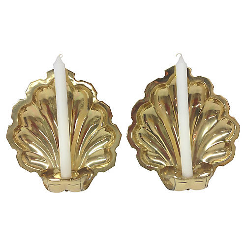 Shell-Shaped Brass Wall Sconces, Pair