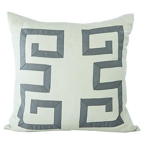 Blue Greek Key Pillow