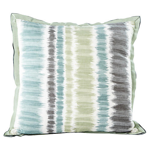 Square Blue & Green Stripe Pillow