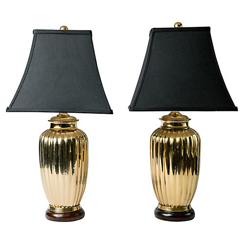 Art Deco-Style Brass Table Lamps, Pair