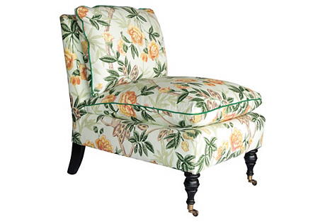 Chinoiserie Floral Slipper Chair