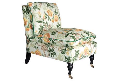 Chinoiserie Floral Slipper Chair