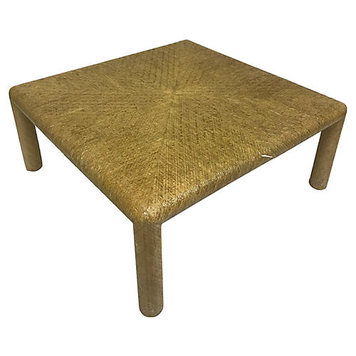 Lacquered Grasscloth Coffee Table