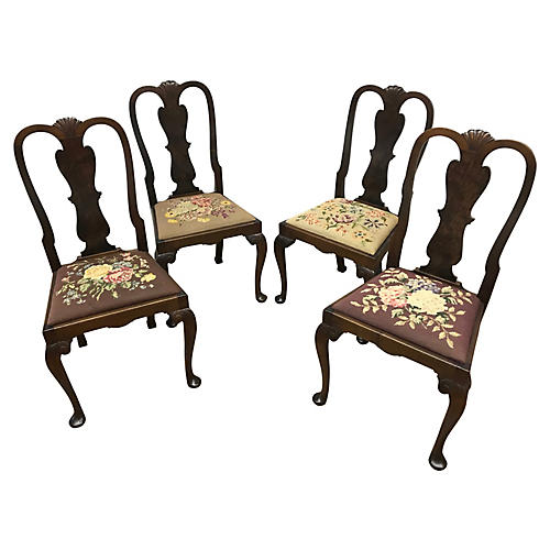 Queen Anne Style Needlepoint Chairs, S/4