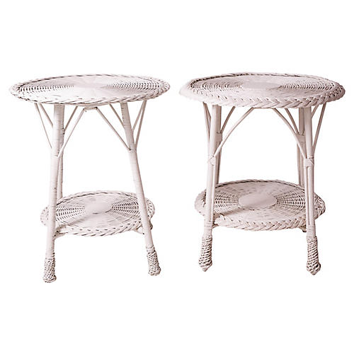 1940s White Wicker Side Tables, S/2