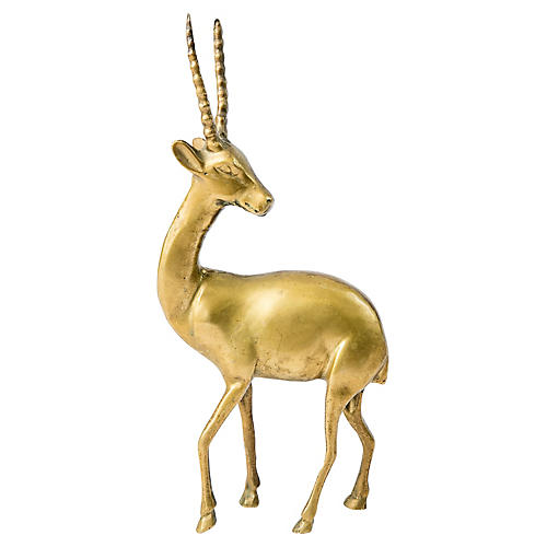 Brass Gazelle Figurine