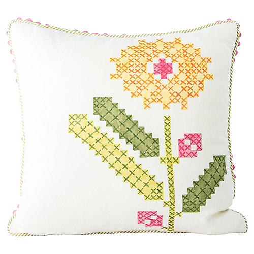 Faux-Embroidery Floral Pillow