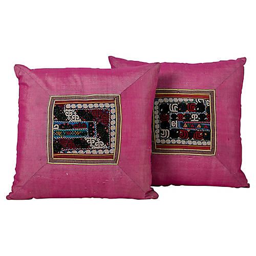 Pink Silk Suzani Appliqué Pillows, Pair